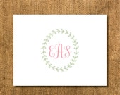 Laurel Wreath Monogrammed Stationary. Laurel Wreath Thank You Cards, Simple Monogrammed Stationary, Wreath Stationary, Nature Stationary