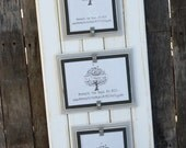 5x7 Triple Picture Frame - Distressed Wood - Double Mats - Holds 3 - 5x7 Photos - White, Light Gray and Gray
