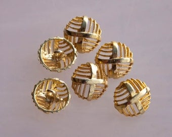 """6 Vintage 13/16"""" Gold Tone Metal Shank Buttons. Pretty Openwork Directional Line Design. Solid Metal. Item 2026M"""