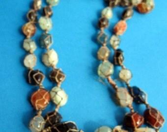 Gorgeous multicolor agate tribal necklace