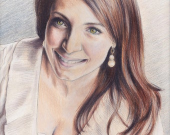 Custom Portrait 8x10 - Hand Drawn Colored Pencil Portrait from Your Photo on Paper