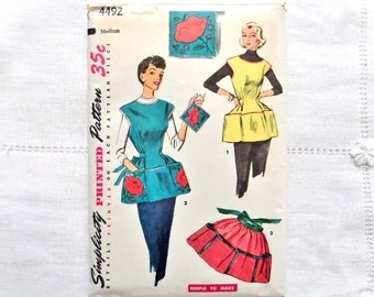 Vintage Simplicity 4492 Pattern Cobbler Apron Half Apron Pot Holder 1953
