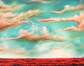 Surreal Art Print of Lightning Storm, Stormscape Wall Art, Summer Landscape Print, Dreamscape of Stormy Sky with Lightning Bolts Striking