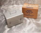 RESERVED - Vintage 8mm Movie Reel Cases - BRUMBERGER 1002 - with Original Box - Audio Tape Storage