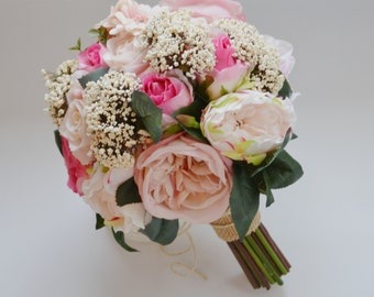 Shabby Chic Wedding Bouquet in Pink Roses Queen Anne's Lace Pink Wedding Bouquet Bridal Bouquet Silk Floral Arrangement