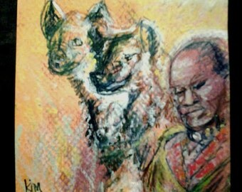 "sale 4""x4"" MASAI HYENA DREAM original kimartist africa montage man woman ethnic brown red orange yellow gray black white sfa tile ooak"