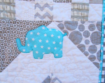 Modern Baby Quilt Elephant Baby Quilt Gray Aqua Blue  Chevron Zig Zag