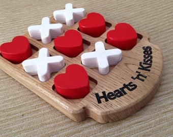 Noughts & Crosses / Tic Tac Toe board - 'Hearts 'n' Kisses' version. Solid oak and personalised