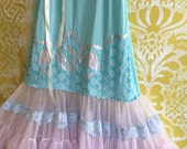 Reserved for lee pale french blue lilac & bright baby blue applique knife pleat chiffon tiered party dress by mermaid miss k