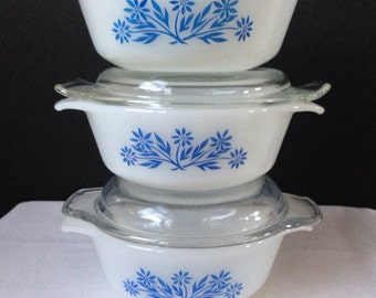 Anchor Hocking - Fire  King - Blue Floral - 1 Pint  Baker - Set of  three