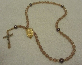 Brown and Gold Flex Wire Miraculous Medal  Rosary