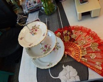 Vintage Pink Floral China 3-Tie Tea/Cake Candy Stand or Jewelry Display