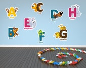 Childrens Animal Alphabet and Numbers Printed Removable Wall Vinyl letters animals full color decals stickers kids boys girls play room