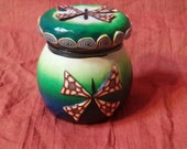Butterfly on Green and Yellow Horizon Upcycled Jar