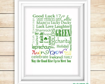 St. Patrick's Day Subway Art Digital Printable- Word Art 8x10 16x20
