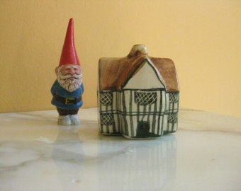 Ceramic Whimsy Cottage For A Fairy, Hand Painted, Vintage Miniature