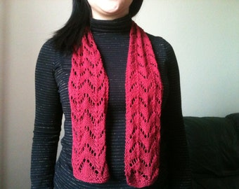 Hemp knit lace scarf
