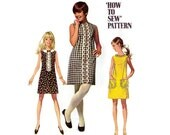 1960s Dress Pattern Simplicity 8011, Sleeveless Shift Dress, Collar & Trim Options, Simple to Sew 1968 Vintage Sewing Pattern Bust 32.5