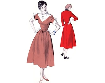 1950s Dress Pattern Butterick 5477, Flared Skirt, V-shaped Contrast Yoke, Pointed Cuffs & Collar, Vintage Sewing Pattern Bust 35 Uncut