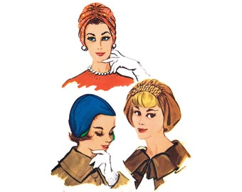 """1950s Hat Pattern McCall's 2341, Ruched Turban, Draped Beret & Close Fitting Cap, Soft Hats, 1959 Vintage Sewing Pattern Size 22"""" Uncut"""