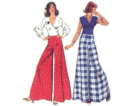 0634499082b5 1970s Palazzo Pants Pattern Simplicity 5575 Super Wide Leg