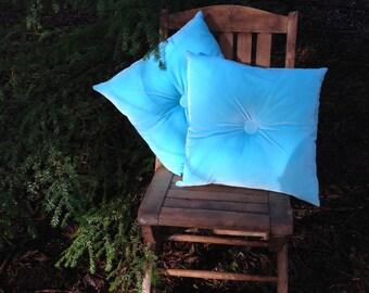 Ocean Blue Velvet Tufted Pillow Set Pair Blue Cushions Retro Velvet Pillows