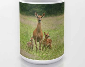 Doe with Twin Fawns coffee mug, Photo Mug, Photography, Nature, Deer