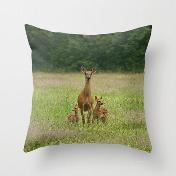 Doe with Twin Fawns Photo Throw Pillow, Throw Pillow, Pillow, Nature