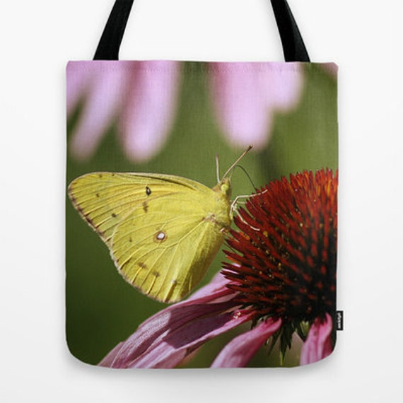 Tote Bag, Clouded Sulphur Butterfly,  Photography, Butterflies, School Bag, Teacher Gift, Everyday Bag, Unique Gift, Travel Bag, Totes, Gift