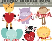 Valentine Clipart with Jungle Animals  -Personal and Limited Commercial Use- Cute Safari Clip art with Hearts