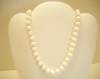 "Vintage 15"", 8mm White Glass Beaded Necklace, Japan (8854**) Individually Knotted"