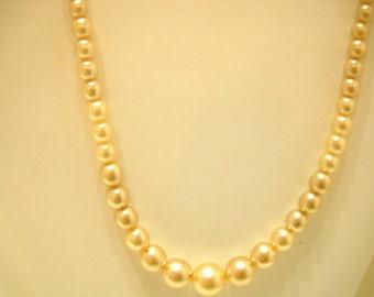 "Vintage 17"" Faux Pearl Necklace (0189) 3mm - 8mm"
