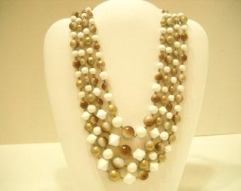 Vintage Four Strand Beaded Necklace (1128) Japan