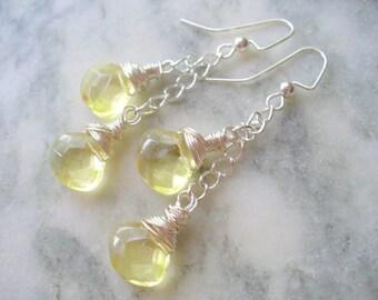 Long Dangle Earring, Pale Yellow Crystal Earrings, Elegant Long Dangle Earring, Gold Earring, Dangle Earring, Silver Jewelry, Silver Earring