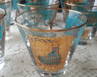 Set of 9 Southern Comfort Bar Glasses with Jigger, Shot Glass