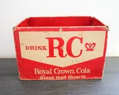 Vintage RC Royal Crown Cola paperboard soda crate box rustic decor mid century logo St. Paul Minneapolis Gold Medal Beverage red white crate
