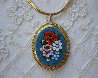 vintage. NECKLACE. gold tone. MOSAIC. colorful. PENDANT. italy. 1960s.
