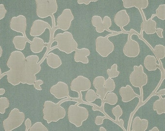 Gray Aqua Floral Upholstery Fabric - Abstract Leaf Fabric - Modern Silver Floral Furniture Fabric - Jacquard Curtain Material