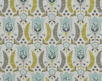 Aqua and Grey Floral Cotton Upholstery Fabric - Yellow Grey Floral Pillow Covers - Aqua Floral Curtain Panels - Custom Aqua Roman Shade