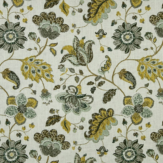 Items Similar To Yellow Grey Floral Upholstery Fabric Custom Linen Floral Curtains Roman