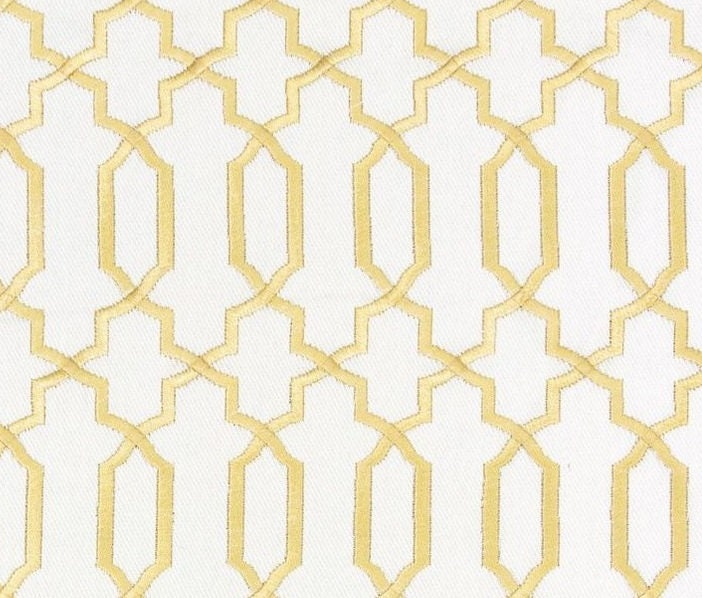 Quatrefoil curtains - Contemporary Gold Fabric Geometric Gold White Embroidered