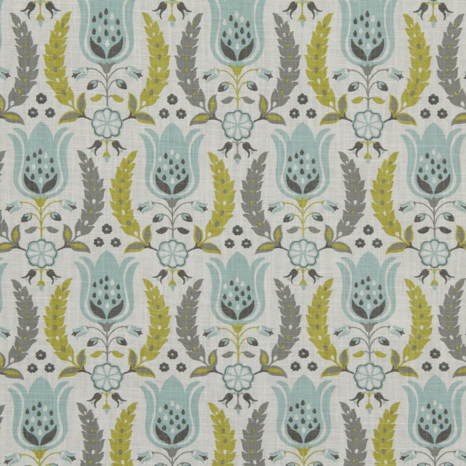 Aqua and grey floral cotton upholstery fabric yellow grey for Floral upholstery fabric