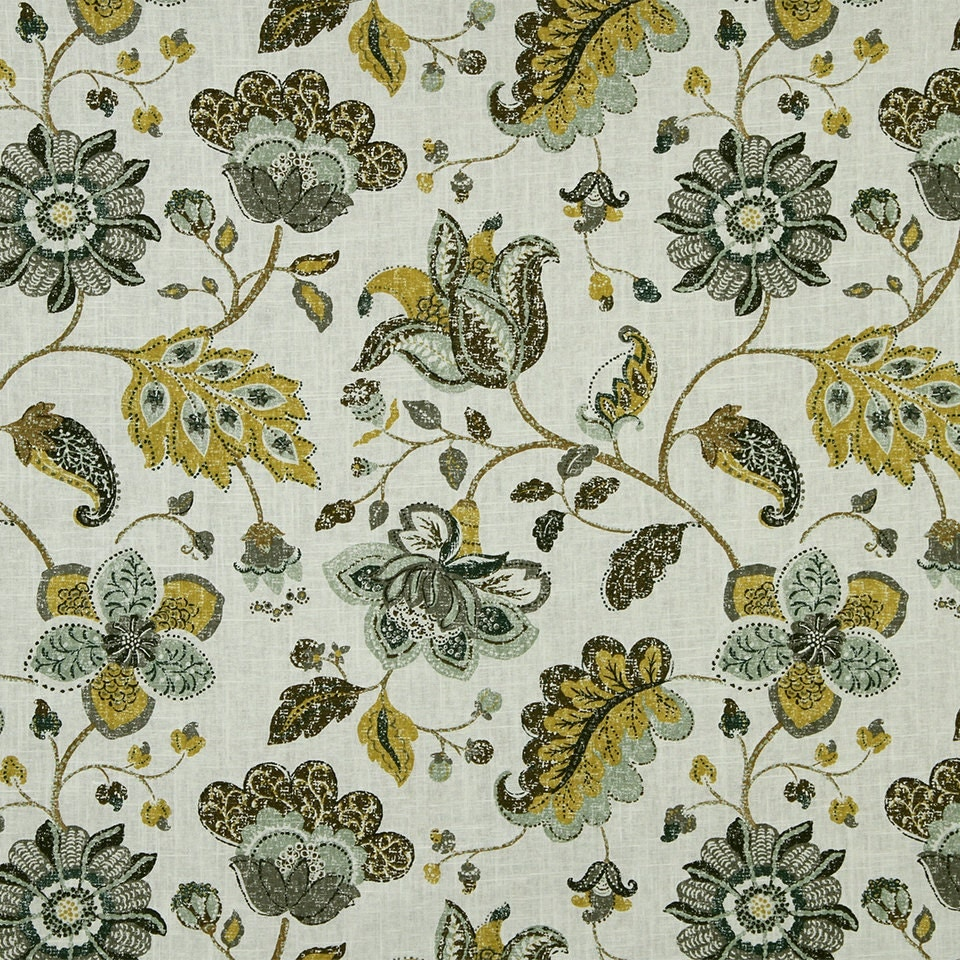 Yellow grey floral upholstery fabric custom linen floral for Floral upholstery fabric