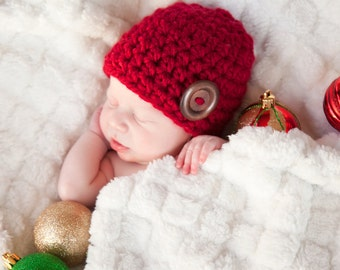 Baby Boy Hat Baby Girl Hat 0 - 3 Month Cranberry Red Baby Hat Baby Boy Cap Baby Girl Cap Wood Button Baby Beanie Photo Prop Photography Prop