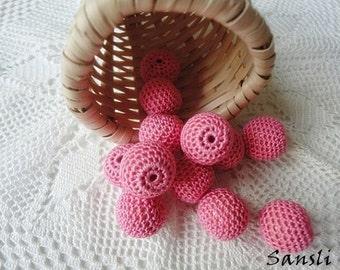12 pcs- 16 mm beads-crocheted bead-pink beads-round beads-crochet ball beads-beads crochet-embellishment-wooden crochet cotton yarn beads