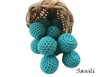 12 pcs- 16 mm beads-crocheted bead-green beads-round beads-crochet ball beads-beads crochet-embellishment-wooden crochet cotton yarn beads