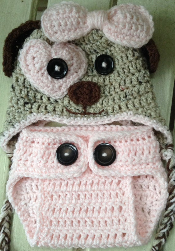 Crochet Dog Hat And Diaper Cover Pattern : Puppy Dog Hat and Diaper Cover Pattern Only, Crochet Hat ...