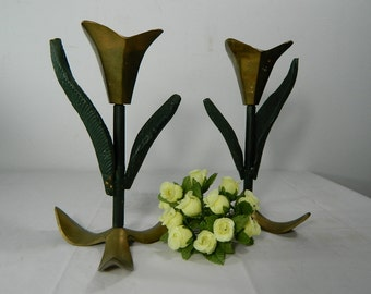 Vintage Brass Candlesticks Tulip Flower Set of 2 Brass Candle Holders