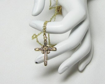 Gold Cross Necklace, Mens Cross Necklace, Gold Cross Necklace, Teen Gift