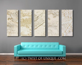 Oversized Ivory White Abstract Painting / CUSTOM 5 Set Collection / 48 X 15  / Industrial